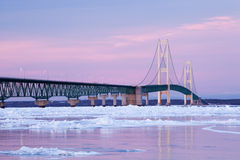 Winter, Mackinac Bridge Royalty Free Stock Photos