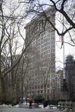 Winter in Madison Square Park - Flatiron in Background Royalty Free Stock Photo
