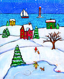 Winter Magic. An folky illustration/painting of a traditional winter scene in the country, early evening Stock Photo