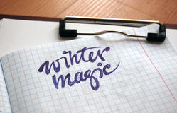 Winter Magic calligraphic background Stock Image