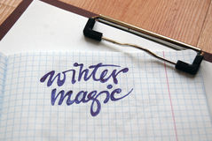 Winter Magic calligraphic background Stock Photography