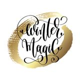 Winter magic - hand lettering quote to winter holiday design Royalty Free Stock Photography