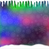 Winter magical festive template with silver fallen snowflakes,. Icicles and snowdrift on vibrant defocused bokeh background. Christmas or new year wallpaper royalty free illustration