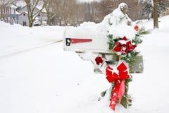 Winter mailbox stock photo