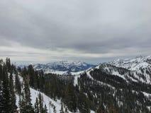 Winter majestic views around Wasatch Front Rocky Mountains, Brighton Ski Resort, close to Salt Lake and Heber Valley, Park City, U. Winter majestic views around Stock Photo