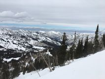 Winter majestic views around Wasatch Front Rocky Mountains, Brighton Ski Resort, close to Salt Lake and Heber Valley, Park City, U Stock Photos