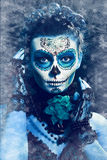 Winter make up sugar skull. Beautiful model with ice. Santa Muerte concept stock image