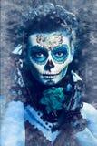 Winter make up sugar skull. Beautiful model with ice. Santa Muerte concept Stock Image