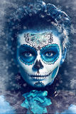 Winter make up sugar skull. Beautiful model with ice. Santa Muerte concept stock photo
