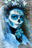 Winter make up sugar skull. Beautiful model with ice. Santa Muerte concept Royalty Free Stock Photo