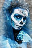 Winter make up sugar skull. Beautiful model with ice. Santa Muerte concept Royalty Free Stock Images