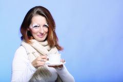Winter makeup woman with cup of coffee Stock Photos