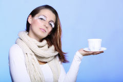 Winter makeup woman with cup of hot beverge Royalty Free Stock Photo