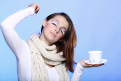 Winter makeup woman with cup of hot beverge Royalty Free Stock Images