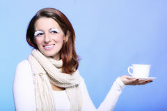 Winter makeup woman with cup of hot beverge Stock Photography
