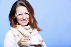 Winter makeup woman with cup of hot latte coffee Stock Image