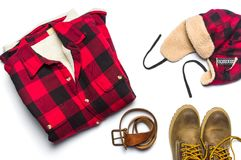 Winter male fashion accessories flat lay isolated. On white Stock Photos