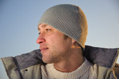 Winter male portrait. Stock Photo