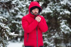 Winter male portrait. Young bearded man trying to heat his cold hands in frost winter park. Cold season concept Royalty Free Stock Images