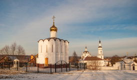Winter Maloyaroslavets - ancient Russian city. Church-Chapel of the Archangel Michael in Maloyaroslavets Royalty Free Stock Photos