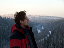 Winter man. Taiga, winter, temperature -25C. To the sportsman it is not cold Stock Photos