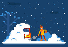 Winter Man Digs Car Out of Snow Background Flat Design Vector Illustration Stock Images