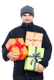 Winter man with presents Royalty Free Stock Photo