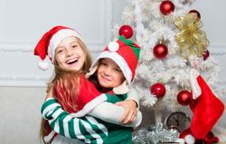 Winter masquerade concept. Siblings ready celebrate christmas or meet new year. Merry christmas. Family holiday. Tradition. Children cheerful celebrate royalty free stock image
