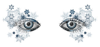 Winter masquerade makeup for Christmas and New Year Royalty Free Stock Photos