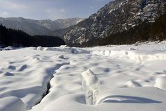 Winter mauntain landscape. Winter river royalty free stock image