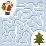Winter maze game, Santa Claus and Christmas tree Stock Images