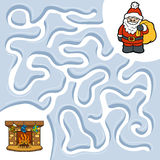 Winter maze game, Santa Claus and fireplace Stock Photo