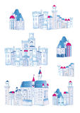 Winter medieval castles design vector elements Royalty Free Stock Photo