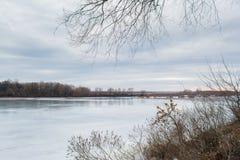 Winter melting river Stock Photos
