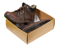 Winter men boots in sale box Stock Photography