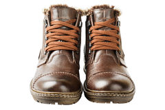 Winter Men's lace boots with fur. Winter boots, men's, brown, with laces and thick soles Stock Image