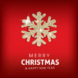 Winter Merry Christmas background with glowing. Snowflake/.Great holiday design for New Year greeting cards, posters and flyers, etc Stock Photos