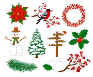Winter Merry Christmas and Happy New Year Objects Decoration Elements Items set Royalty Free Stock Images