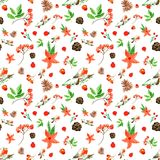 Winter Merry Christmas seamless background with bullfinch, red flowers, rowan berries, pine cones. royalty free illustration