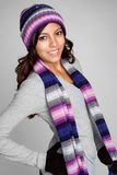 Winter Mexican Girl. Happy smiling winter mexican girl Royalty Free Stock Photos