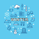 Winter minimal outline icons Royalty Free Stock Photography