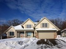 Winter in Minnesota with residential house Stock Photography