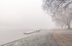 Winter mist over river Royalty Free Stock Image