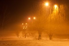 Winter misty embankment in the light of lanterns.  royalty free stock photography