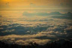 Morning Mist covers Winter misty Fog sunrise Stock Images