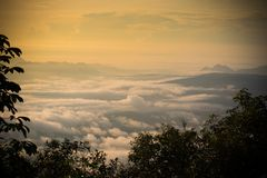 Morning Mist covers Winter misty Fog sunrise Royalty Free Stock Photos