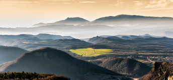 Winter misty landscape panorama Royalty Free Stock Images