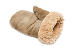 Winter mitten. With fur of the sheepskin on white background stock photo