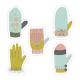 Winter mittens and gloves vector stickers set. Royalty Free Stock Photos