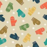 Winter mittens pattern Royalty Free Stock Images